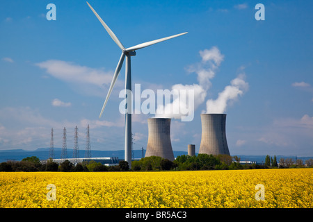 France, Drome and Vaucluse, wind turbines and Tricastin Nuclear Power Station - Stock Photo