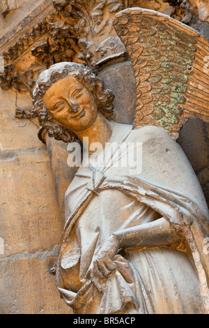 Europe, France, Marne (51), Notre-Dame de Reims, Listed as World Heritage Site by UNESCO, Tympanum of North Portal - Stock Photo