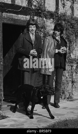 Vintage historical images of Mick Jagger and Keith Richard after the drug raid on Richard's home near Chichester - Stock Photo