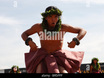 Member of the Hawaiian Halau O Kekuhi dance company performs at the First Americans Festival on the National Mall, - Stock Photo