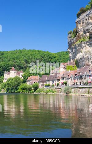 River Dordogne and La Roque-Gageac; Dordogne; France - Stock Photo
