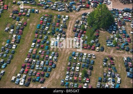 Aerial view of Auto Junk yard Michigan USA - Stock Photo