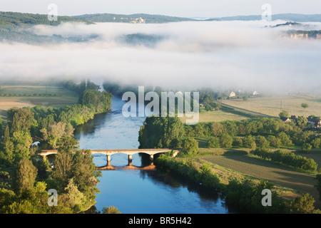 Morning mist over the river Dordogne; France - Stock Photo