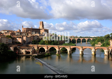 france, albi, tarn river, bridge and cathedral - Stock Photo