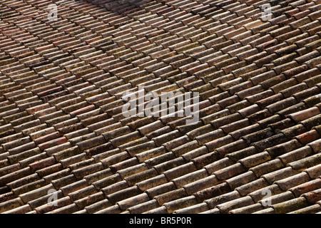 Terracotta roof tiles, Sirmione, Lake Garda, Italy - Stock Photo