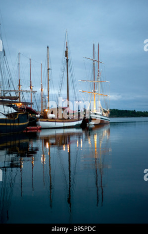 Oslo harbor in the early morning. Norway - Stock Photo
