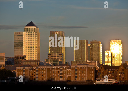 A view from across the River Thames towards, Canary Wharf and the Isle of Dogs. - Stock Photo