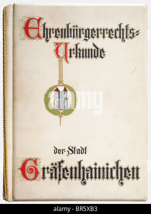 Adolf Hitler, a certificate of honorary citizenship by the City of Gräfenhainichen Lavishly designed, calligraphic - Stock Photo