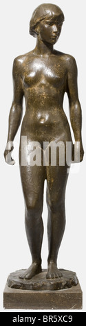 Richard Martin Werner (1903 - 1949), Young Girl Bronze, artist's monogram 'RW', height 101 cm, on marble base (slightly - Stock Photo