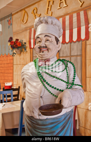 Life-size figure of a chef in 'Downtowner's on Dauphin' Cafe in Mobile, Alabama, USA - Stock Photo