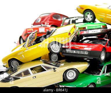 close up, pile of miniature model cars. - Stock Photo