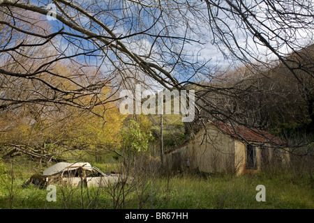 An abandoned car and house in the East Cape town of Tokomaru Bay, New Zealand. - Stock Photo