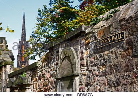 Flodden wall, Greyfriars churchyard, Edinburgh - Stock Photo