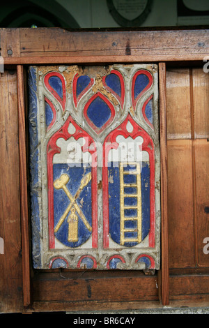Painted Pew Ends, St Breward Church, Cornwall, depicting the Arma Christi, of Symbols of the Passion - Stock Photo