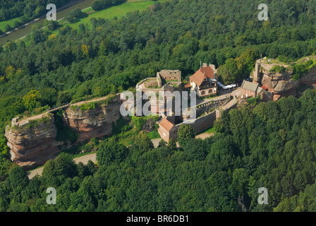 Aerial view of old castle Haut Barr, near of Saverne town, Bas Rhin, Alsace, France - Stock Photo