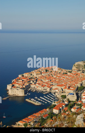DUBROVNIK, CROATIA. An early-morning view of the old town, harbour and walls. 2010. - Stock Photo