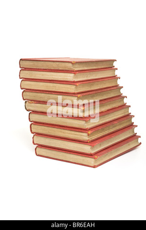 Pile of old books isolated on white background. - Stock Photo