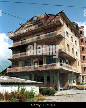 City destruction in Pec, Kosovo. - Stock Photo