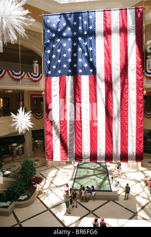 The American flag hanging in the Venetian Hotel, Las Vegas, USA - Stock Photo
