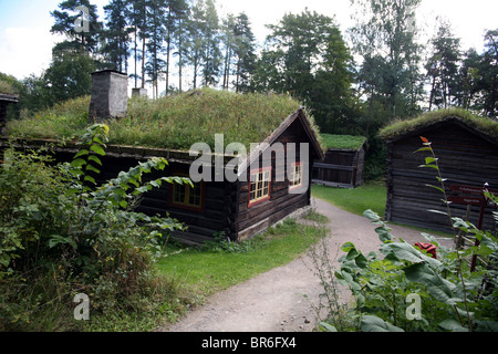 Open air museum in Oslo, Bygdoy folks museum with traditional wooden houses - Stock Photo