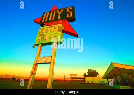 Roy's Motel-Café sign, Old Route 66, Amboy, CA, USA - Stock Photo