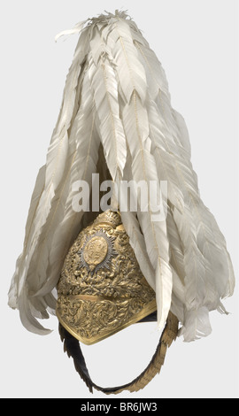 A fine helmet for officers of the Honourable Corps of Gentlemen at Arms., Gilded tombac skull fitted with superimposed, - Stock Photo