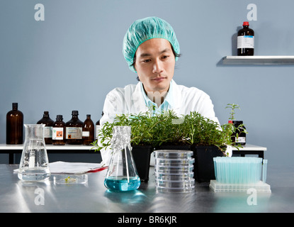 A lab technician staring intently at a plant in a laboratory - Stock Photo