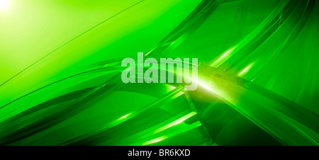 Three-dimensional curved lines in green - Stock Photo