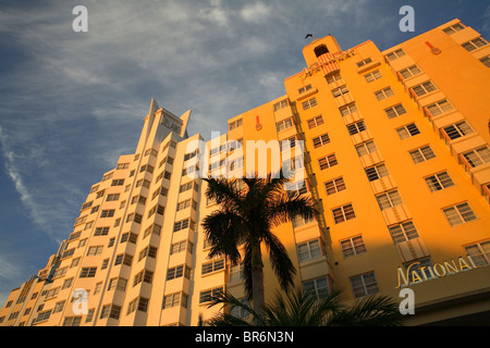 Art Deco architecture at hotels along Collins Avenue in South Beach in Miami FL.