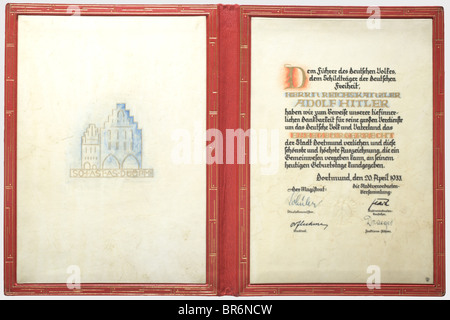 Adolf Hitler - a certificate of honorary citizenship awarded by the City of Dortmund in 1933., Calligraphic parchment - Stock Photo