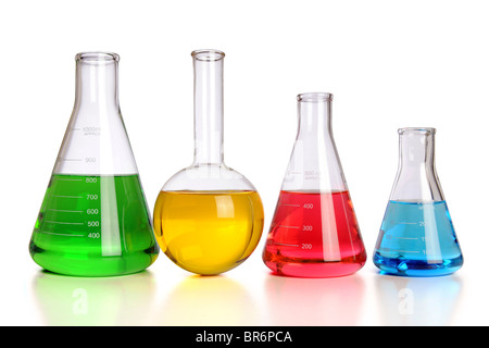 Laboratory glassware with reflections on table isolated over white background - With Clipping Path - Stock Photo