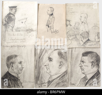Hitler trial 1924 - sketches from the court room., 19 drawings by the trial observer Carl August Jäger made at the - Stock Photo