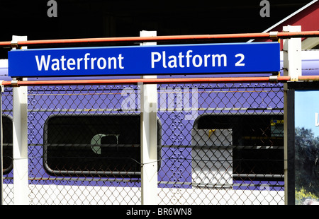 Waterfornt Skytrain Platform in Vancouver BC canada - Stock Photo