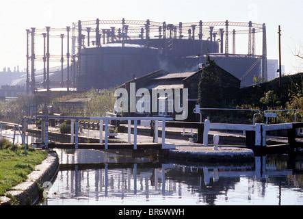 St. Pancras Lock, Regents Canal, Camley Street Gas Holders London England UK gasometer gasometers holders English - Stock Photo