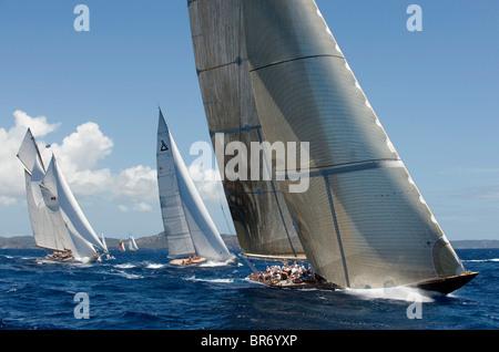Eleonora, 'Gaia' and 'Velsheda' during the Antigua Classic Yacht Regatta 2008, Race 3, April 20. - Stock Photo