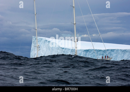 SY 'Adele', 180 foot Hoek Design, exploring a tabular iceberg in rough sea, Bransfield Strait, 17 January 2007 Non editorial use