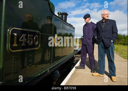 Pete Waterman railway enthusiast and record producer pictured opening Blaenavon High Level station - Stock Photo