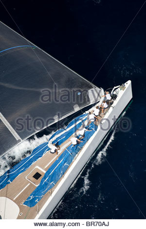 VIsione designed by Reichel Pugh and Baltic, length 45.5, sailing upwind. The Superyacht Cup, Palma de Mallorca, - Stock Photo