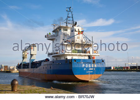 Cargo vessel 'Posen', built in 1993, leaving Birkenhead dock system, Merseyside, UK. February 2009. - Stock Photo