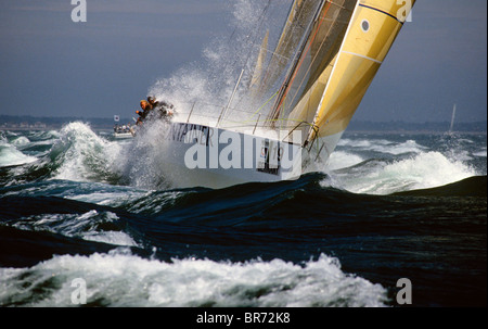 Container leaving the Solent for the Fastnet Race, part of the Admiral's Cup, 1991. - Stock Photo