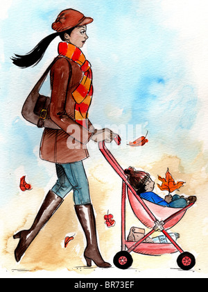 A woman pushing a stroller in autumn - Stock Photo