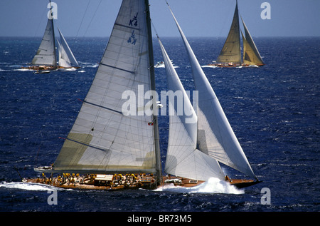 Left: 'Shamrock V', Middle: 'Endeavour', Right: 'Velsheda', Antigua Classics, 1999. - Stock Photo