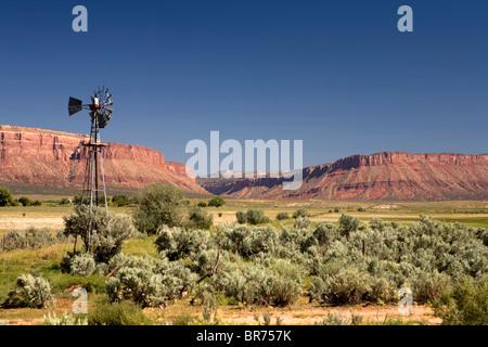 A windmill in Paradox valley Colorado. - Stock Photo