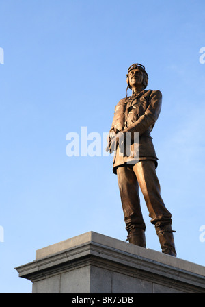 Statue of Sir Keith Park on the fourth plinth in Trafalgar Square - Stock Photo