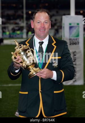 South African coach Jake White holds the trophy after the 2007 IRB Rugby World Cup Final - Stock Photo
