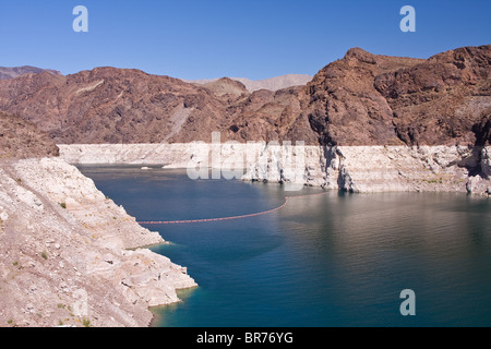 View of Lake Mead from Hoover dam with extremely low water level - environmental concept - Stock Photo
