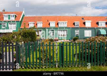 Traditional houses in the town of Marken, Holland - Stock Photo