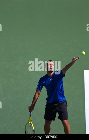 Mikhail Youzhny (RUS) competing at the 2010 US Open Tennis. - Stock Photo