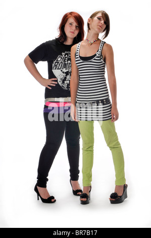 teen girl girls on white background - Stock Photo