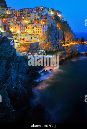 Town of Manarola in Italy's Cinque Terre national park - Stock Photo
